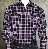Rockmount Ranch Wear Men's Western Shirt: A Plaid Rayon Blend Black and Pink 2X