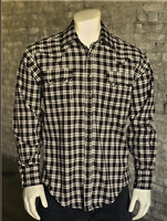 Rockmount Ranch Wear Men's Western Shirt: A Plaid Rayon Blend Black Tan