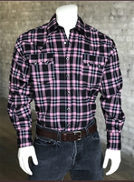 Rockmount Ranch Wear Men's Western Shirt: A Plaid Rayon Blend Black Pink