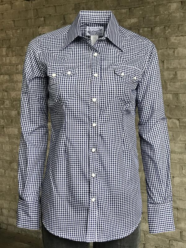 Rockmount Ranch Wear Ladies' Western Shirt: Gingham Check Navy Backordered