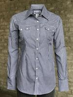 Rockmount Ranch Wear Ladies' Western Shirt: Gingham Check Navy Advance Order