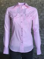 Rockmount Ranch Wear Ladies' Western Shirt: Gingham Check Pink Backordered