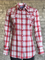 Rockmount Ranch Wear Ladies' Western Shirt: Plaid Retro Dobby Red