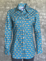 Rockmount Ranch Wear Ladies' Western Shirt: A Print Native American Inspired Turquoise S-L
