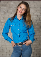 Rockmount Ranch Wear Ladies' Western Shirt: Cotton Blend Turquoise
