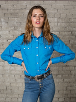 Rockmount Ranch Wear Ladies' Western Shirt: Cotton Blend Turquoise 2XL Backordered