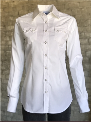 Rockmount Ranch Wear Ladies' Western Shirt: Cotton Blend White Advance Order