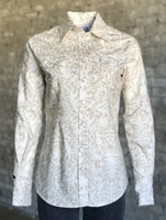 Rockmount Ranch Wear Ladies' Western Shirt: A Print Lace Filigree Ivory S-XL