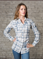 Rockmount Ranch Wear Ladies' Western Shirt: Plaid Cotton Eyelet Blue Backordered