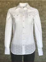 Rockmount Ranch Wear Ladies' Western Shirt: Cotton Eyelet Stripe White Backordered