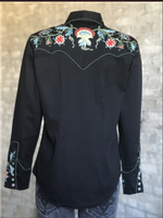 Rockmount Ranch Wear Ladies' Vintage Western Shirt: A Fancy Floral Embroidery Black
