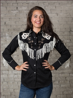 Rockmount Ranch Wear Ladies' Vintage Western Shirt: Fancy Fringe Black Backordered