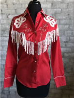 Rockmount Ranch Wear Ladies' Vintage Western Shirt: Fancy Fringe Red Backordered