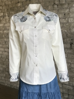Rockmount Ranch Wear Ladies' Vintage Western Shirt: Fancy 2 Tone Embroidered Shirt