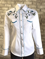 Rockmount Ranch Wear Ladies' Vintage Western Shirt: Fancy Floral White