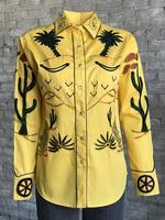 Rockmount Ranch Wear Ladies' Vintage Western Shirt: Fancy Palm Trees & Wagon Wheels Gold Backordered