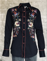 Rockmount Ranch Wear Ladies' Vintage Western Shirt: A Fancy Floral Embroidery Black S-XL