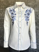 Rockmount Ranch Wear Ladies' Vintage Western Shirt: A Fancy Floral Ivory S-XL