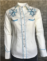 Rockmount Ranch Wear Ladies' Vintage Western Shirt: A Scroll with Rhinestones Ivory