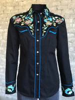 Rockmount Ranch Wear Ladies' Vintage Western Shirt: Fancy Flowers Embroidered Black Backordered