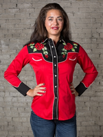 Rockmount Ranch Wear Ladies' Vintage Western Shirt: Fancy Nashville Rose Red and Black Backordered