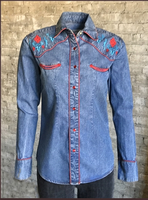 Rockmount Ranch Wear Ladies' Vintage Western Shirt: A Fancy Denim Native American Design