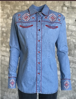Rockmount Ranch Wear Ladies' Vintage Western Shirt: A Fancy Embroidered Denim S-XL