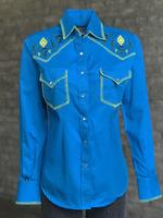 Rockmount Ranch Wear Ladies' Vintage Western Shirt: Fancy Blanket Stitching Turquoise