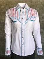 Rockmount Ranch Wear Ladies' Vintage Western Shirt: A Fancy Native American Embroidery White S-L