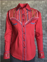 Rockmount Ranch Wear Ladies' Vintage Western Shirt: A Fancy Native American  Embroidery Red S-M