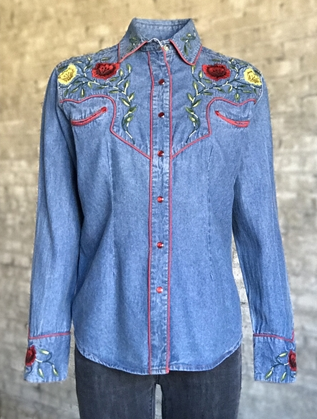 Rockmount Ranch Wear Ladies' Vintage Western Shirt: Fancy Denim Roses
