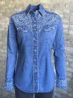 Rockmount Ranch Wear Ladies' Vintage Western Shirt: A Fancy Tooling Denim Backordered