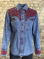 Rockmount Ranch Wear Ladies' Vintage Western Shirt: Fancy Tooling Red on Denim