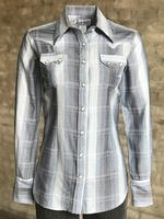 Rockmount Ranch Wear Ladies' Western Shirt: Print Ombre Stripe Cotton Blue