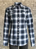 Rockmount Ranch Wear Ladies' Western Shirt: Plaid Cotton Shadow Plaid Blue Advance Order