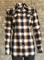 Rockmount Ranch Wear Ladies' Western Shirt: Plaid Cotton Shadow Plaid Brown Advance Order
