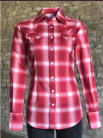 Rockmount Ranch Wear Ladies' Western Shirt: Plaid Cotton Shadow Plaid Red Backordered