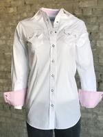 Rockmount Ranch Wear Ladies' Western Shirt: Pima Cotton White Pink Cuff M-L
