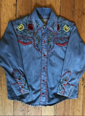 Rockmount Ranch Wear Children's Vintage Western Shirt: Two Tone With Roses Denim Backordered