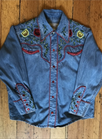 Rockmount Ranch Wear Children's Vintage Western Shirt: Two Tone With Roses Denim XS-XL