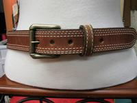 Rockmount Ranch Wear Accessory: Buckle w Belt Triple Stitch Tan 30-46