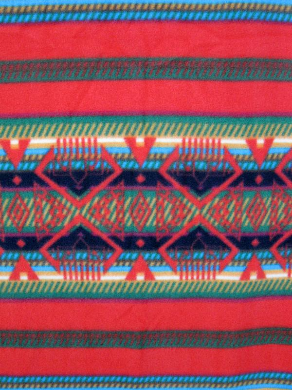 A Rockmount Ranch Wear Blanket: Native American Pattern Red and Green
