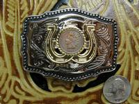 Rockmount Ranch Wear Accessory: Buckle Trophy Rectangle Antique Penny
