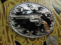 Rockmount Ranch Wear Accessory: Buckle Trophy Oval Pistol 38 Special Tri-Color