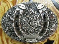 Rockmount Ranch Wear Accessory: Buckle Trophy Oval Horseshoe