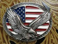 Rockmount Ranch Wear Accessory: Buckle Trophy Enamel Oval Flying Eagle and Flag