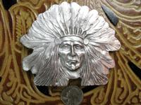 Rockmount Ranch Wear Accessory: Buckle Trophy Native American Chief Pewter