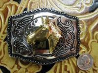 Rockmount Ranch Wear Accessory: Buckle Trophy Rectangle Horsehead