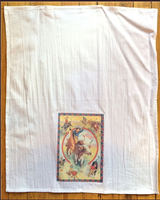 A Rockmount Ranch Wear Tea Towel: Roping Cowgirl