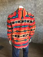 B Rockmount Ranch Wear Men's Western Shirt: Winter Fleece Native American Inspired Pattern Coral 2X Backorder